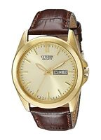Citizen BF0582-01P Men's Leather Band Gold Tone Gold Dial Day Date Dress Watch
