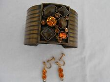 Cuff Bracelet Screw Back Earrings with orange looking stones lot
