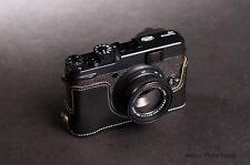 Genuine Real Leather Half Camera Case Bag for FUJI X20 X10 Bottom Opening Black