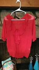 Women's Blouse Size M Red Sheer Ruffled Front A.N.A. Brand Really Pretty