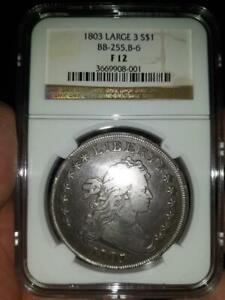 1803 Draped Bust Dollar Large 3  Fine-F12 NGC Certified