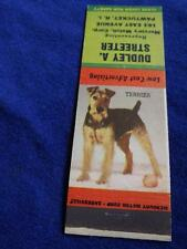 Terrior Dog Mercury Match Corp Dudley Streeter Sales Rep Vintage Matchbook