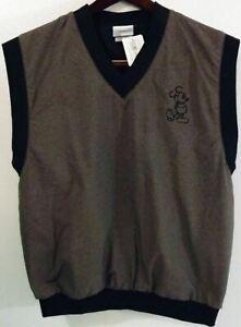 NWT Walt Disney World M Black/Gray Mickey Logo Sleeveless Golf Sweater Vest