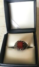 Men Ring STERLING SILVER 925 Natural  Red AGATE AQEEQ Size 10