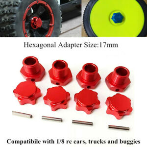1/8 Scale RC Nitro Car Truck Buggy 17mm Aluminum Wheel Hex Hubs Adapter Nut Red