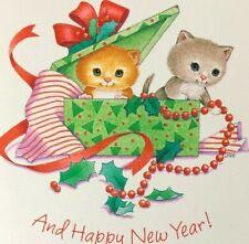 Hallmark Cats Holidays New Year Greeting Card Cute Cartoon Kittens In Gift Box