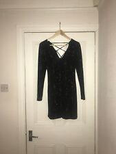 Topshop Glitter Dress Black / Blue Size 8