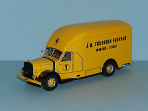 "Exoto 1/43 1950 Alfo Romeo 500 Race Car Transporter ""Scuderia Ferrari"" Yellow MB"