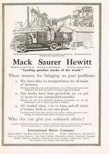 1912 Original Vintage Mack Saurer & Hewitt Truck Art Print Ad
