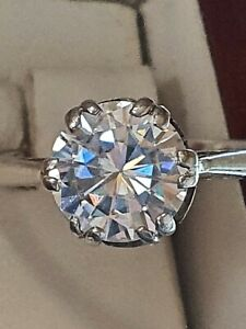 18ct White Gold Huge 2.00 Carat Moissanite Solitaire Ring. Tests As Diamond