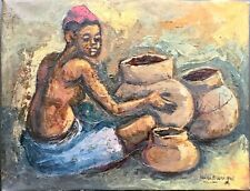 Zairian Street art Impressionism half Nude woman oil on canvas 1970's signed