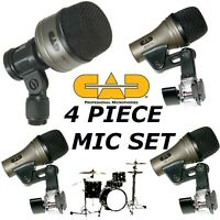 4 Drum Mic Set of microphones Bass Kick+Snare+2 Tom Toms CAD KM 212 SN 210 TM211