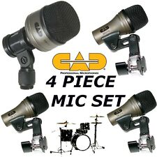4 Drum Mic Set of microphones Bass Kick+Snare+2 Tom Toms CAD KM 212 SN 210 TM211