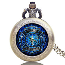 Retro Small Size Fire Fighter Analog Quartz Pocket Watch Women Mens Chain Gifts