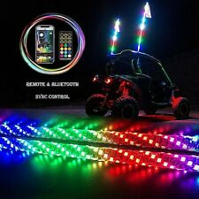 2 Bluetooth Spiral Chasing 3ft Led Lighted Whip W/Flag For Atv Utv Rzr Buggy Sxs