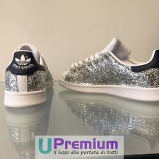 Adidas Stan Smith Silver Blue Glitter [Product Custom Made] Shoes Origina