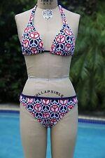 Tommy Hilfiger Women's Bikini Swimwear Swimsuit Peace Sign Red White Blue Large