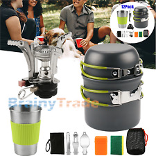 Outdoor Camping Cookware Stove Set+Stainless Steel Cup Backpacking Picnic Hiking