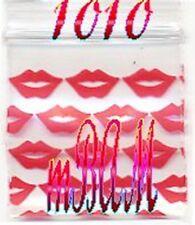 "10 PACKS BIG RED LIPS 1010 Apple Zip Baggies 1.0x1.0"" 1000 Mini Bags"