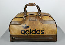 VINTAGE 70s 80s Retro ADIDAS PETER BLACK BROWN HOLDALL SPORTS Bag Leather