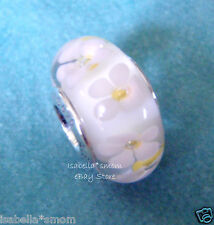 FIELD OF DAISIES Authentic PANDORA Silver/MURANO Glass WHITE Charm-Bead SPRING