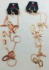 Paparazzi necklace with matching dangle earrings oval/circle link long chain new