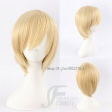 Fashion Short Light Blonde Straight Cosplay Wig Unisex Costume Party Hair Wigs