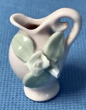 "Vintage Miniature Ceramic Pitcher Pink with Applied White Rose 1.5"" Tall Japan"