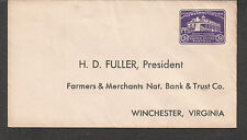 3ct stamped envelope cover Farmer's & Merchants National Bank Winchester VA