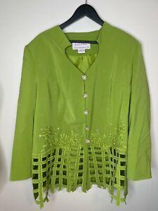 GOSPEL 22W Green Blazer w rhinestone buttons shoulder pads sequins embroidery G7