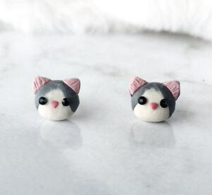 Cute Kitten Cat Earrings Handmade Polymer Clay Kitten Stud Earrings Cat Earrings
