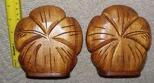 vintage pair koa wood hibisucs flower bookends. hawaii hawaiian