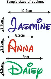 Personalised Name Word Label Water Drink Bottle lunch Disney Font Decal