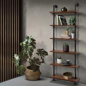 Artiss Rustic Wall Shelves Display Bookshelf Industrial DIY Pipe Shelf Brackets