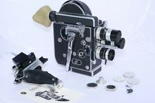 Bolex H8 Reflex 8mm movie camera with 3 Kern C-mount lenses with preset aperture