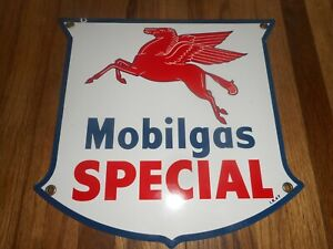 Vintage NOS MOBILOIL MOBIL PEGASUS GAS PUMP PLATE Advertising Porcelain SIGN