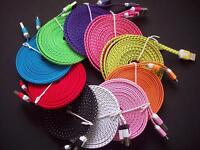 10F3FT Fabric braided Flat 8 pin USB Data Nylon Charger Cable for iphone 6/5s/5c