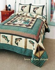 FISHERMANS WHARF 3pc Full Queen QUILT SET : RIVER FISHING GREEN PLAID CABIN FISH