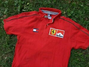Tommy Hilfiger Marlboro Shirt Size M Jersey Red Polo Vintage F1 Ferrari