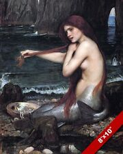 YOUNG MERMAID COMBING BRUSHING HER HAIR ON SHORE PAINTING ART REAL CANVAS PRINT
