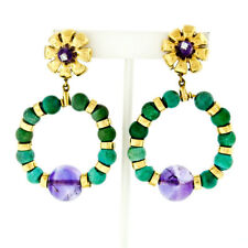 Vintage 18k Yellow Gold Turquoise Amethyst Ball Bead & Diamond Dangle Earrings