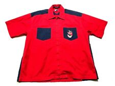 Tommy Hilfiger Vintage Mens Red Embroidered Zip Up Bowling Shirt Size Medium