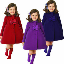 Girl's Long Princess Button Trench Coats Winter Warm Outerwear Winter Jackets