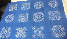 "Set of 12- Embroidered WHITE Swirls Quilt Blocks on Royal Blue Cotton-4"" Design"