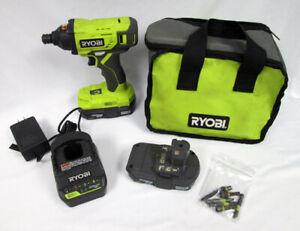 Ryobi One+ 18v Cordless Impact Driver P235AVN 2 Batteries Charging Dock Case