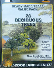 Woodland Scenics #1571 Mixed Green Deciduous Tree Pack - Ready Made Trees (23