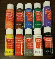 Craft Smart Acrylic Paint Bottles 10 Piece 2 Fl. Oz Set Art, Free Priority Mail