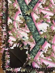 "MOSSY OAK Pink Camo Handmade Fleece Camouflage Tie BLANKET   LARGE 55""x65"""