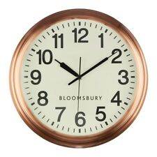 Bloomsbury Round Copper Metal Wall Clock Industrial Quartz Analogue Time Piece