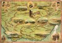 1900 Map South Africa Lesotho Boer War Vintage Historical Military Poster Print